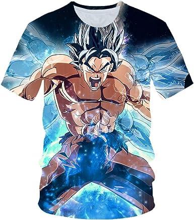 2019 Nueva Camiseta 3D Dragon Ball Z para Hombres y Mujeres Ultra Instinct Goku Super Saiyan God Impreso Verano de Dibujos Animados Camiseta Tamaño S-3XL: Amazon.es: Ropa y accesorios