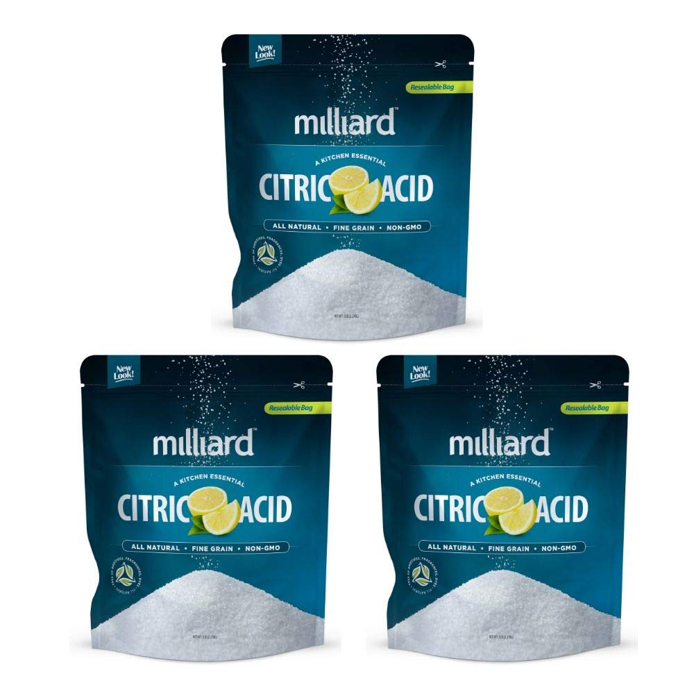 Citric Acid 5 Pound - 100% Pure Food Grade NON-GMO Project VERIFIED (5 Pound) (3 Pack) by Milliard (Image #1)