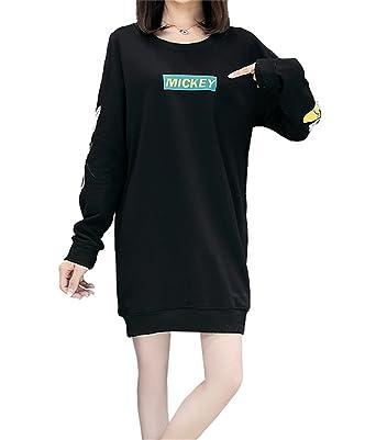 différents types de haute qualité beau look Haroty Robe Pull Femme Manches Longues Grande Taille Coton Hiver Automne  Casual Fluide Imprimé Cartoon Mickey Tunique Sweats