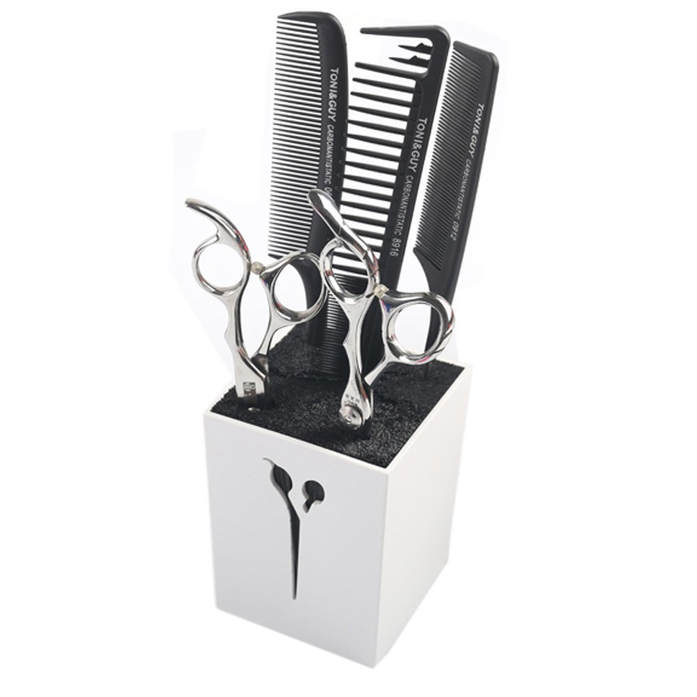 Olpchee Professional Creative Acylic Hairdressing Salon Scissors Combs Clamps Racks Organizer Holder Stand Box (White)