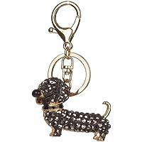 Zerama Bolsa de Hombro Llavero Llavero Perro del Metal del Rhinestone Salchicha Animal de la Historieta del Perrito del…