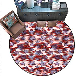 "Striped Round Floor Cover Doodle Stars Wavy Stripes American Flag Patriotic USA Pattern Door mat Indoors Bathroom Mats Non Slip (67"" Diameter) Navy Blue Vermilion White.jpg"