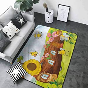 Baby Crawling Area Mats Cartoon,Bees Flowers and Honeycomb 80 x 58 in Bath Rugs for Bathroom
