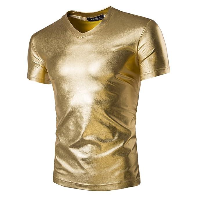 Juleya Camiseta Hombre Manga Corta Camisa V Cuello Top Blusa Ajustada de Color LISO Dorado Negro Plata M L XL 2XL 3XL 4XL oq1B3w2hs7