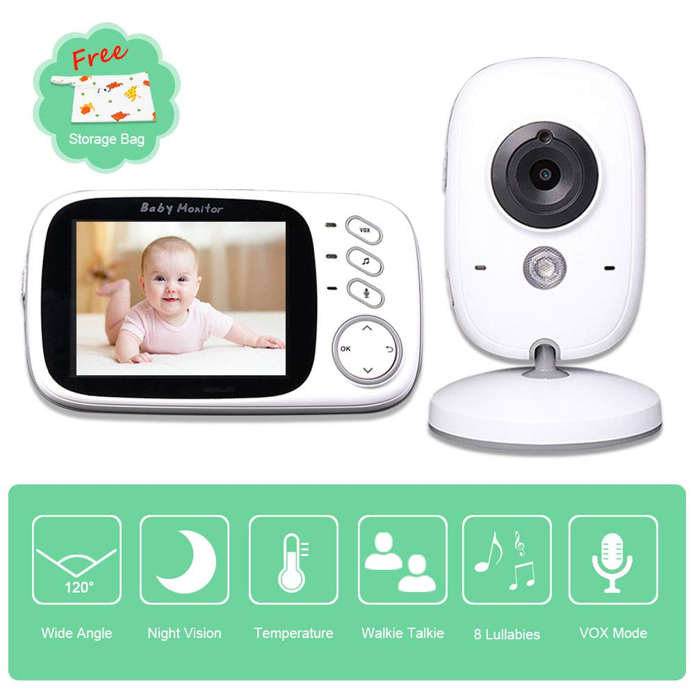 Video Baby Monitor with Camera and Audio, Two-Way Communication with Auto Infrared Night Vision, Talk Back, Room Temperature, Lullabies, 960ft Range and Long Battery Life, Smart Wireless Baby Monitor