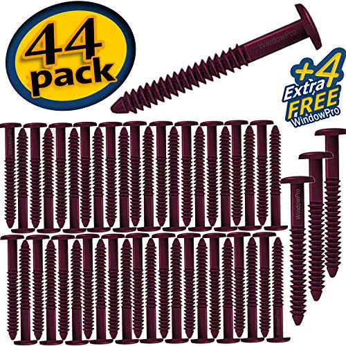 Window Shutters Panel Spike Peg Loks Spikes 3 inch 48 pack (Burgundy)