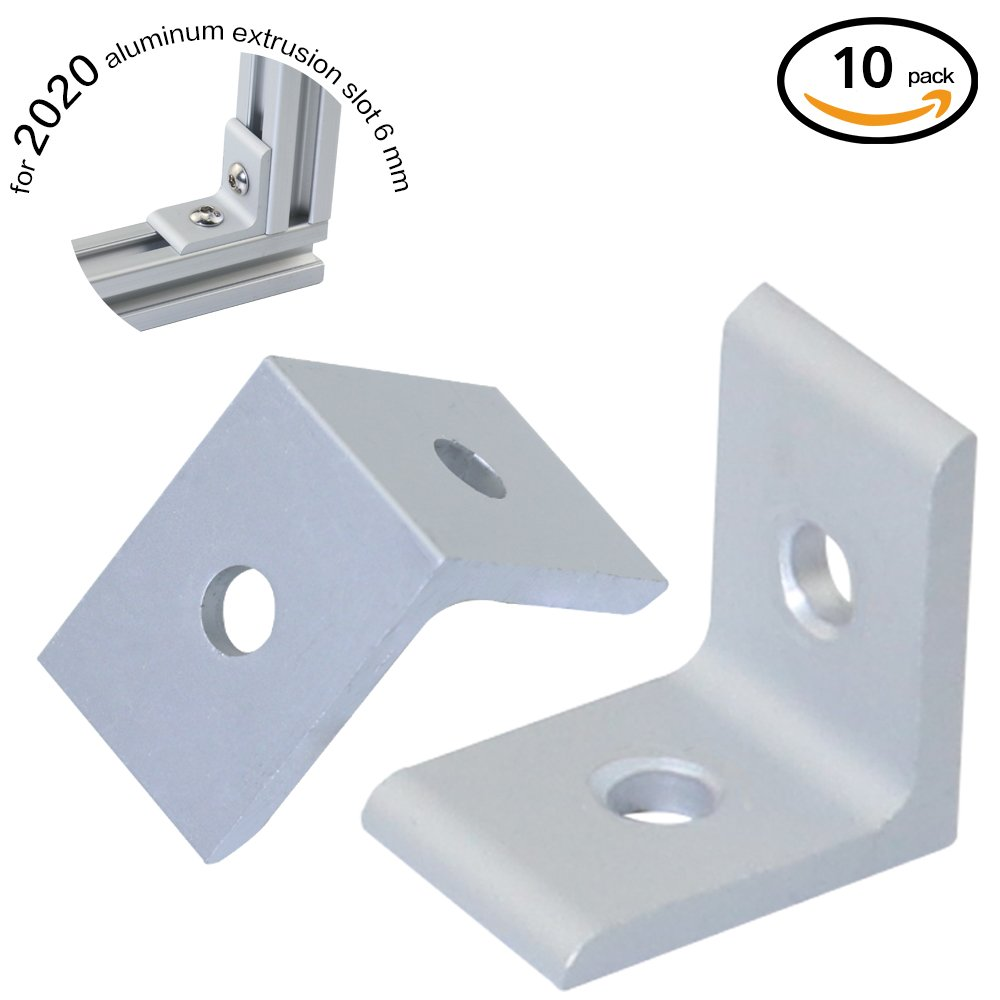 Boeray 10pcs 2 Hole Inside Corner Bracket for 2020 Aluminum Extrusion Profile 20x20 with Slot 6mm 10pcs