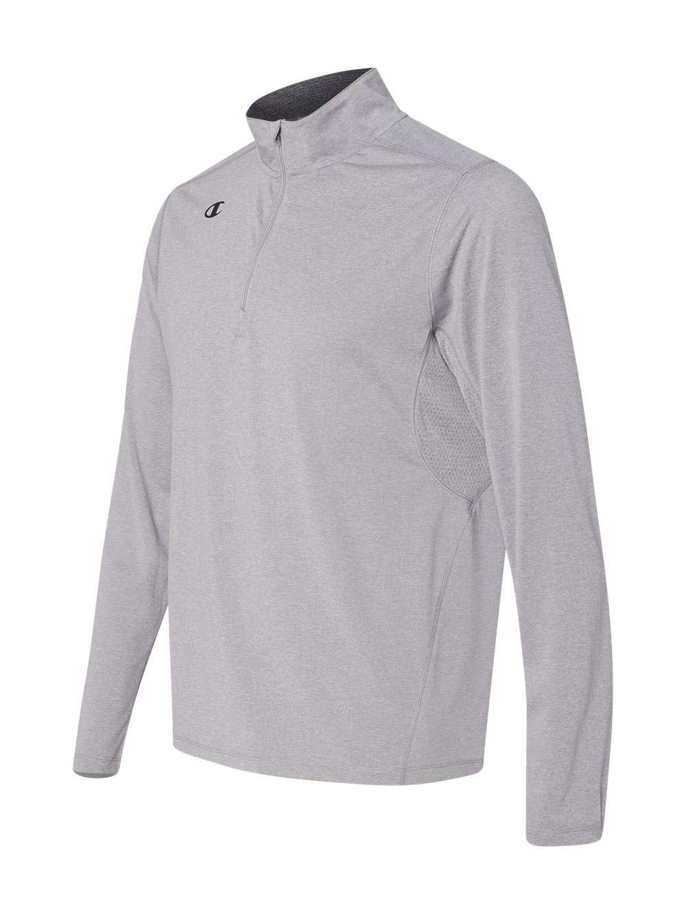 Champion Men's Quarter-Zip Double Dry Pullover, Oxford Grey, Medium by Champion