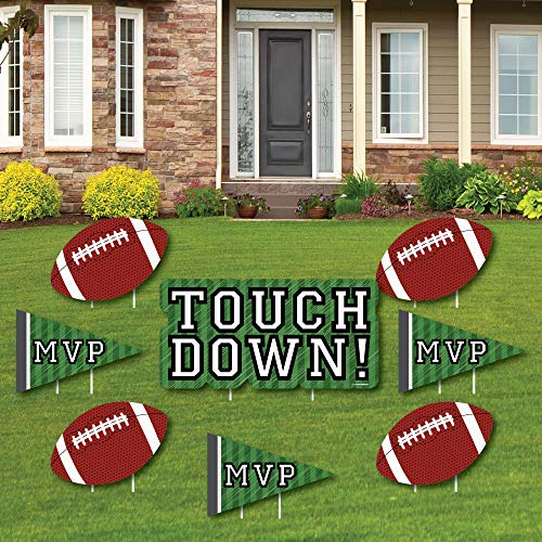 End Zone - Football - Yard Sign & Outdoor Lawn Decorations - Baby Shower or Birthday Party Yard Signs - Set of 8