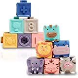 Baby Blocks, Soft Stacking Building Blocks Baby Toy 6 to 12 Months Toddlers Boys & Girls, Safe Teething Chewing Toys for 9-18