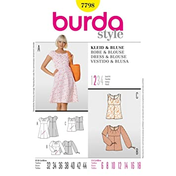 Burda Sewing Pattern 7798 for Blouse or Dress, Sizes 6 - 18: Amazon ...