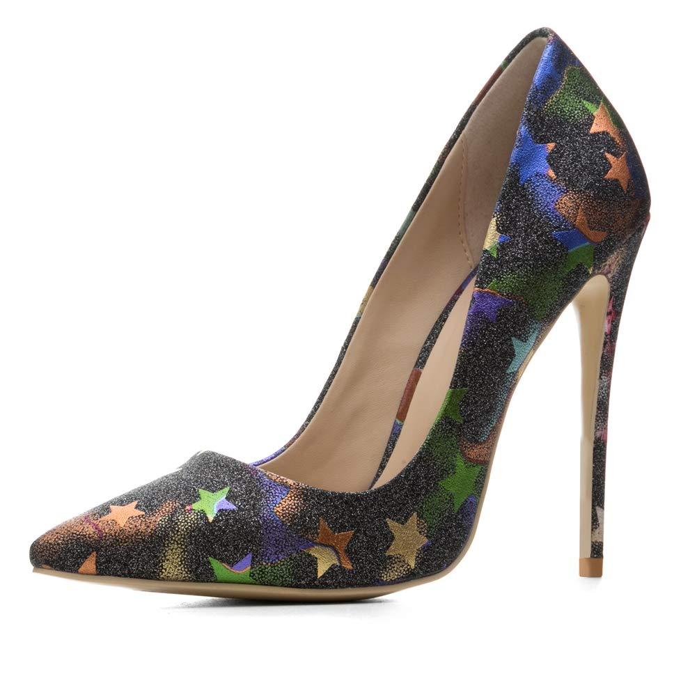 Damen Pumps Stiletto High High High Heel Stöckelschuhe Frauen High Heeled Schuhe Sandalen Spitze Pentagramm Hochzeit Party bcca2d