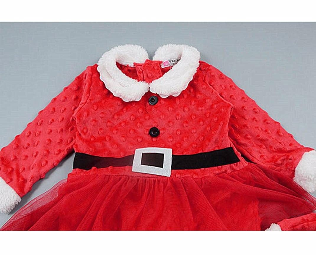 Little Girl Clothes Womail Christmas Long Sleeve Romper+Hat Outfits Set Girls