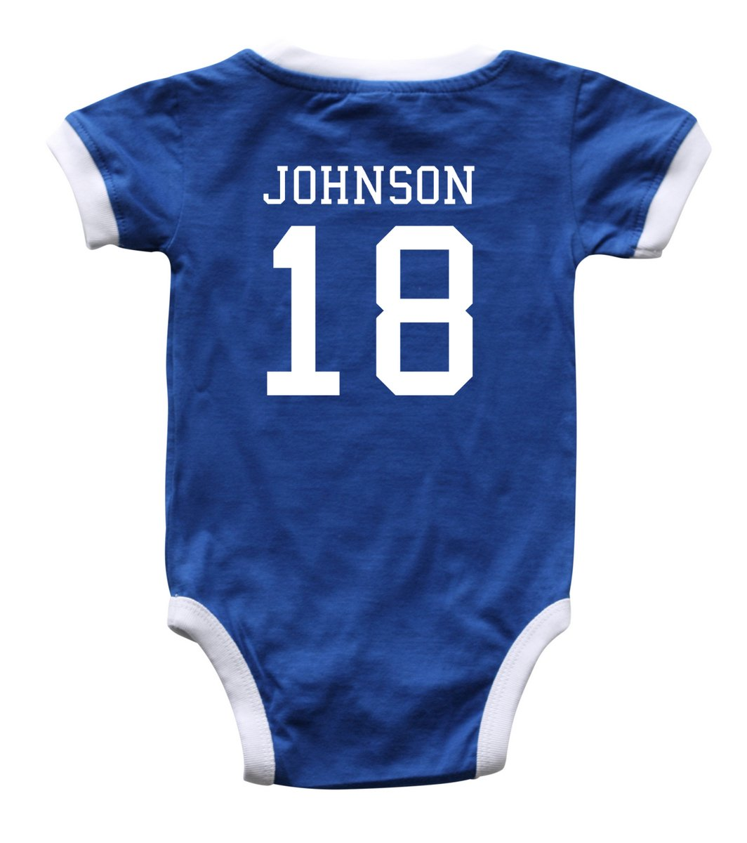 Rocket Bug Custom Soccer Sport Jersey Baby Bodysuit Personalized With Name and Number (12M (6-12 Months), Royal Blue)
