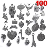Graceangie Wholesale 100 piece/pack Mixed Silver Plated Anchor Star Tree of Life Flower Animals Birds Snowflower Charms Pendants for Necklace Bracelets Jewelry Making DIY Handmade