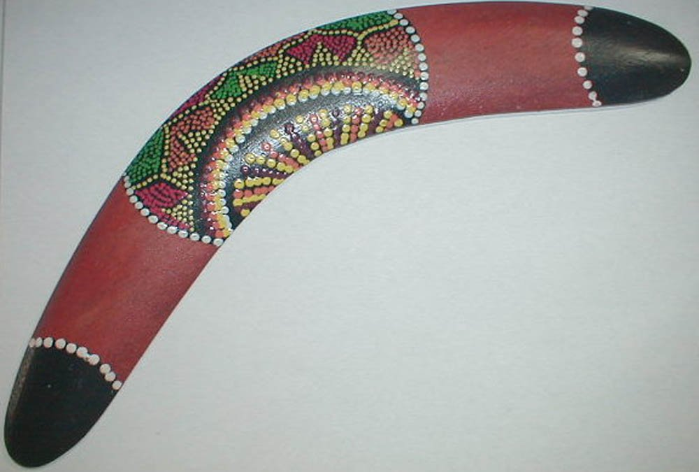 Boomerang Aboriginal style 12 inch Long Handmade medium size 1 ONE, assorted patterns