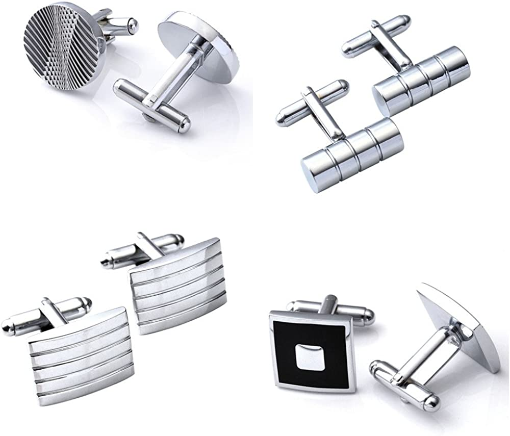 PiercingJ 4 Pairs of Mens Stainless Steel Classic Silver Tone Cufflinks