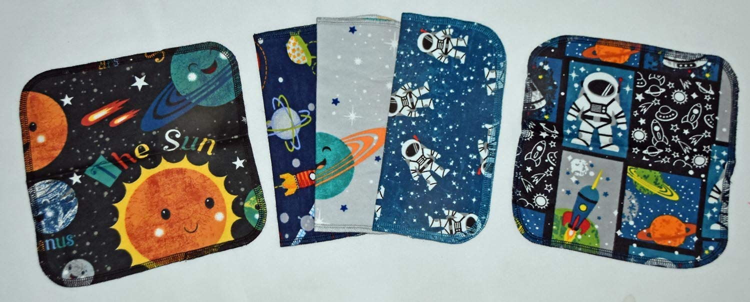 Flannel R 2 Ply Printed Flannel Washable Out of This WORLD- Set Napkins 8x8 inches 5 Pack Little Wipes