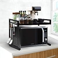 Microwave Oven Shelf Kitchen Organiser Storage Rack Holder Adjustable Black Black
