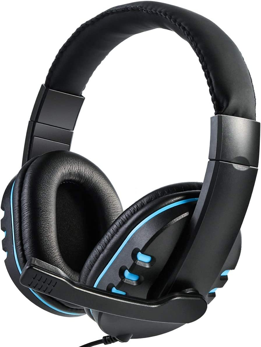Gaming Headset for PS4 Laptop Wired Noise Canceling Mic Stereo Surround Headphone (Color : Black+Blue)