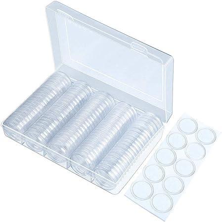 Yangyme 100 Unidades Cajas de plástico EVA para contenedores, cápsulas Redondas con 1 Caja organizadora de Almacenamiento y 100 Juntas de Espuma Protectora para colección de Monedas: Amazon.es: Hogar