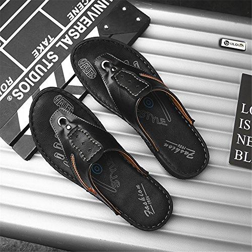 Planas Genuino Negro Chancletas de Hombres de Antideslizantes Casuales los Zapatos Cuero Suaves Zapatillas de Playa Sandalias 7qpF7
