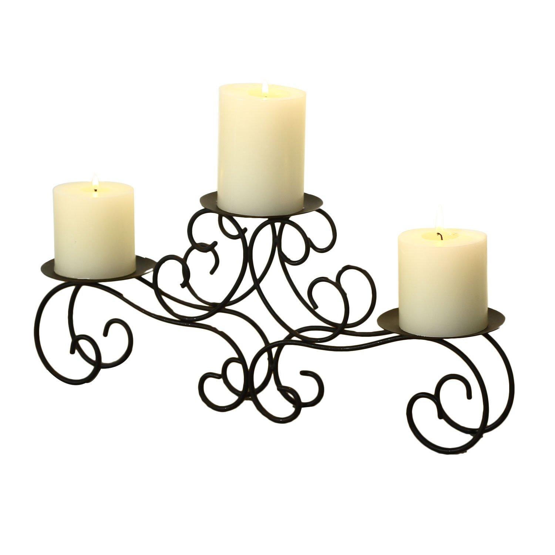 FrameArmy ELEGAN Iron Table Top Candle Holder Holds 3 Pillar Candles Wedding Centerpiece