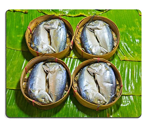 Price comparison product image Liili Mouse Pad Natural Rubber Mousepad IMAGE ID: 14236818 steamed fish Thai style Steamed fish in a wicker basket placed on a banana leaf