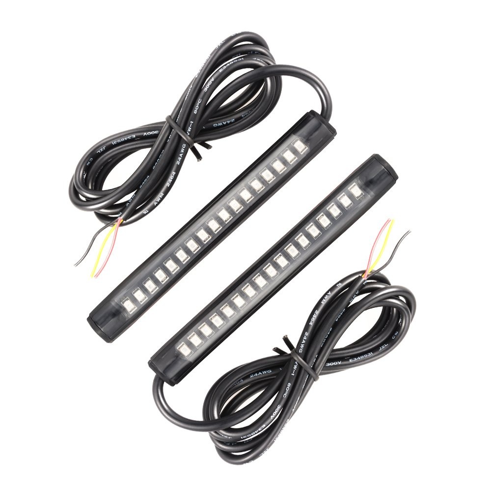 XCSOURCE 2pcs Universal 17 LED 2835 SMD Brake + Turn Signal Strip Red + Amber for Car Vehicle Motorcycle Bike SUV MA617