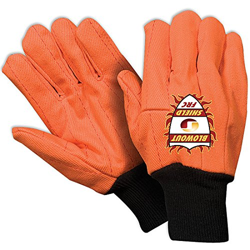 Southern Gloves IWFO269 Oil Field Gloves, Blowout Shield, Extra Heavy Weight, 100% Cotton, Flame Retardant, Black Knit Wrist, Wing Thumb, Fluorescent Orange (Pack of 12)
