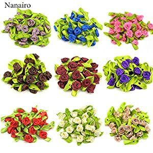 100Pcs Artificial Mini Silk Rosettes Fabric Flowers Heads Making Handmade Satin Ribbon Roses Diy Craft For Wedding Decoration 19
