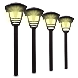 LowVoltz Solar 4 Pack Bright (10 Lumen) Solar Edison Bulb LED Path Lights. Outdoor Solar Pathway Lights Garden, Yard Walkway. Modern Design, Solar Path Landscape Lighting, Longest Lasting Charge