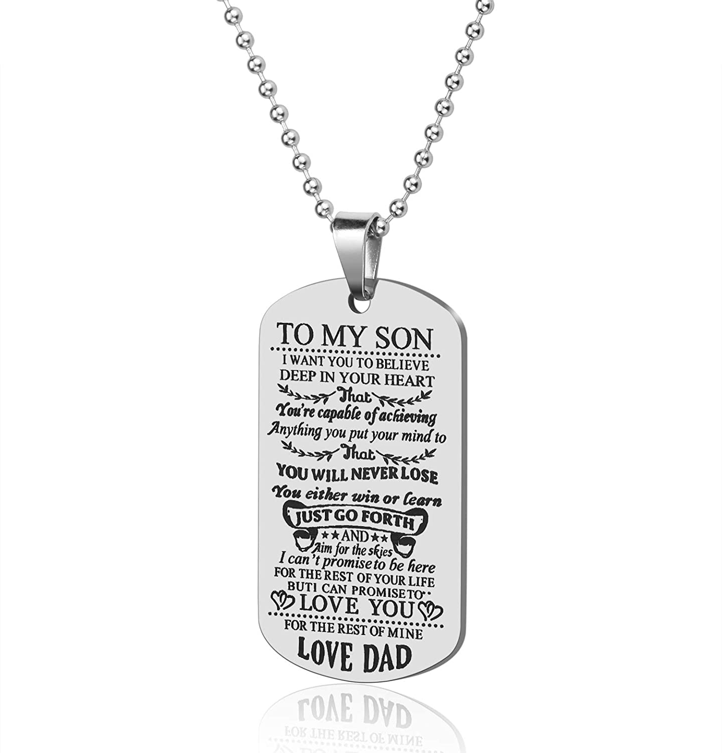 Lcbulu Dad to Son Necklace, to My Son Dog Tag Pendant Necklace, Father to Son Gifts for Boys Kids, Son Gift from Dad, Inspirational Son Necklace Inspirational Son Necklace (Dad to Son)