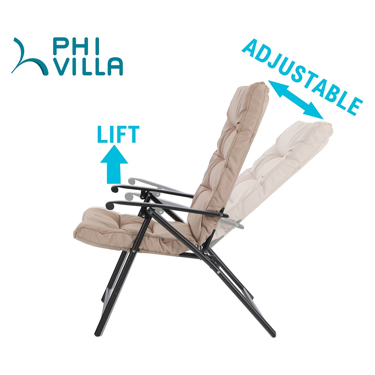 PHI VILLA Patio 3 PC Padded Folding Chair Set Adjustable Reclining 2 Position, Beige by PHI VILLA (Image #4)