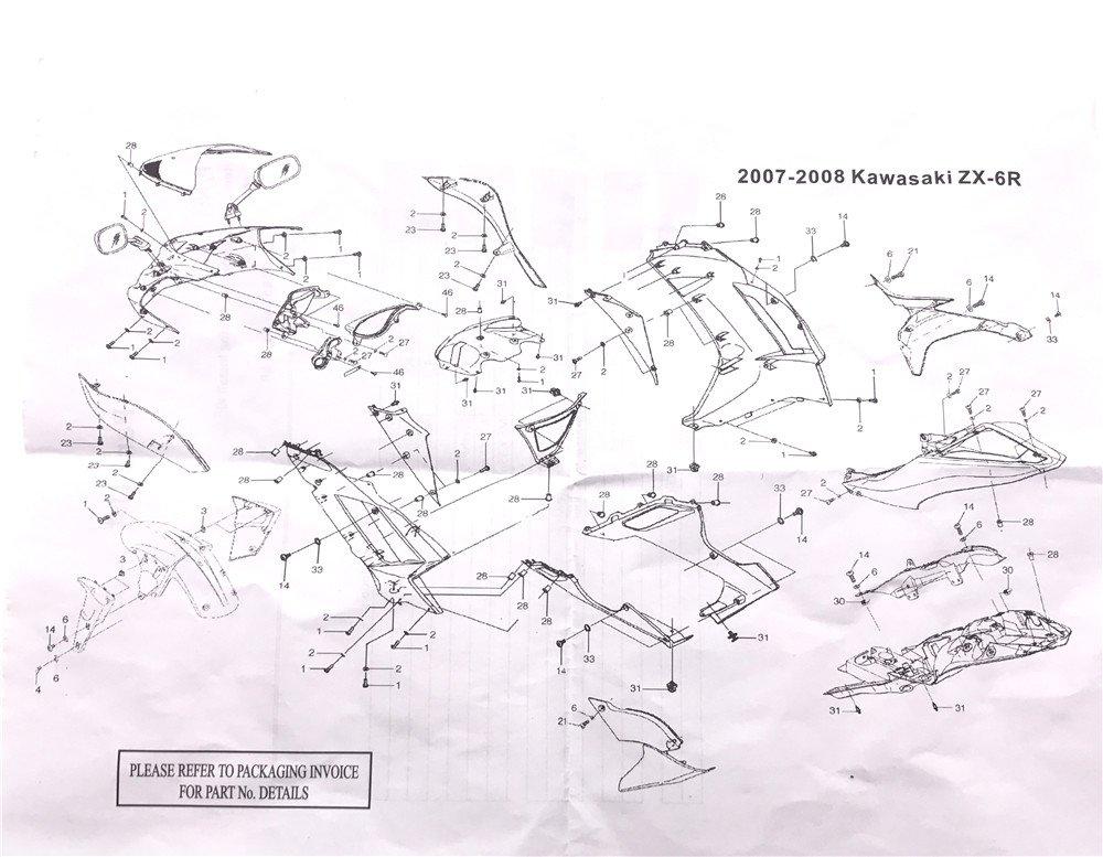 httmt- Kit de cuerpo completo carenado Tornillos Tornillos para Kawasaki Ninja ZX6R ZX-6R 2007 – 2008