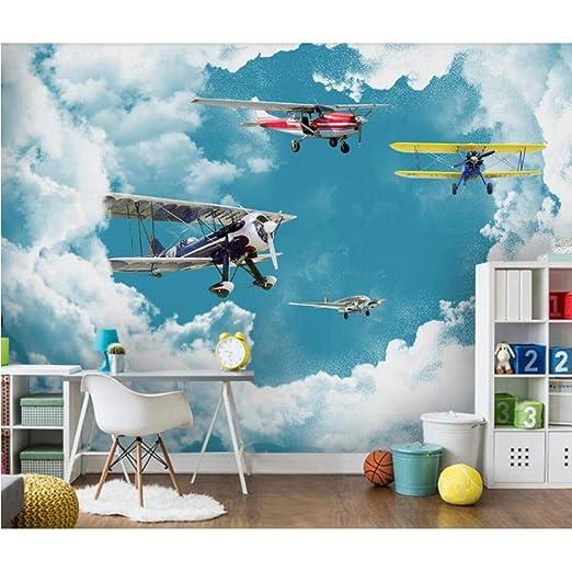 Pbbzl 3d Kids Kids Room Carton Aircraft Wallpaper Blue Sky