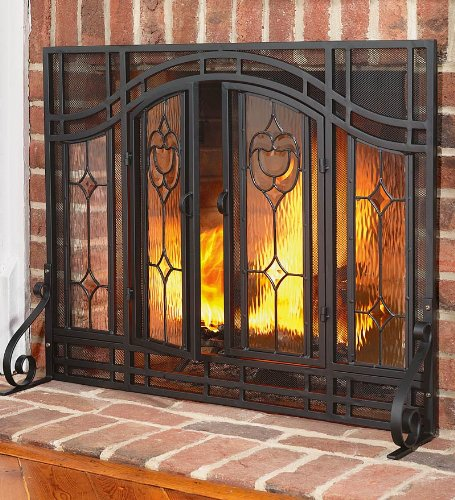 Two-Door Floral Fireplace Screen with Beveled Glass Panels and Tool Set, in Black ()