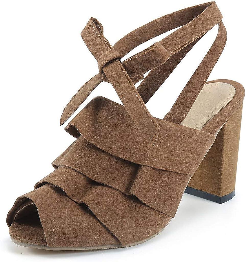 Darringls_Sandalias de Primavera Verano Mujer,Zapatos Romanos Sandalias de Damas de Mujeres Zapatos Moda Cuadrados de tacón Alto Zapatillas Pescado Boca rebaño: Amazon.es: Ropa y accesorios