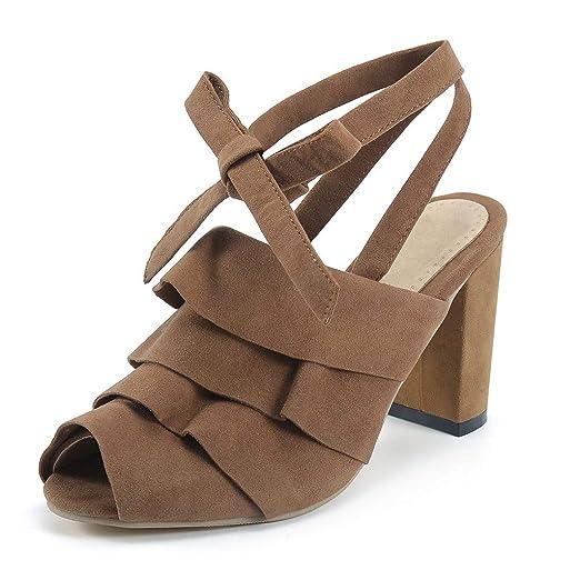 8ec01b9036dc Respctfu Women s Summer Platform Stacked Heel Sandal Chunky Block Heel Wedge  Pump Shoes Brown
