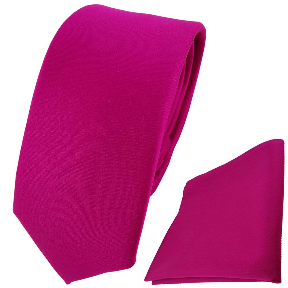 TigerTie schmale Designer Krawatte + Einstecktuch magenta einfarbig Uni