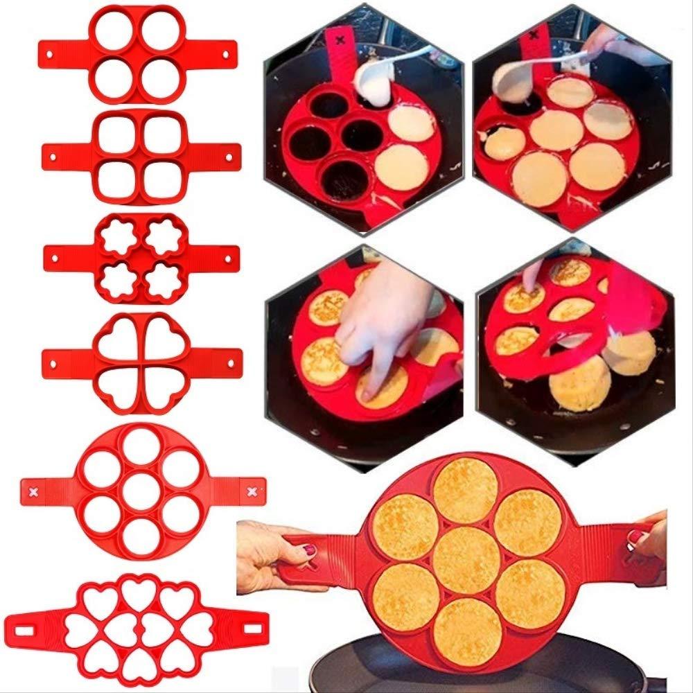 6 Unids//Set Pancake Egg Circle Making Machine Silicona Antiadherente Pancake Cheese Egg Pan Pan Flip Egg Mold Accesorios Para Hornear Cocina