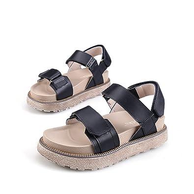 0c8fc378e089 Fuoks Women s Fashion Leather Anti-Skid Walking Summer Sandals Black 36 5.5  D(M