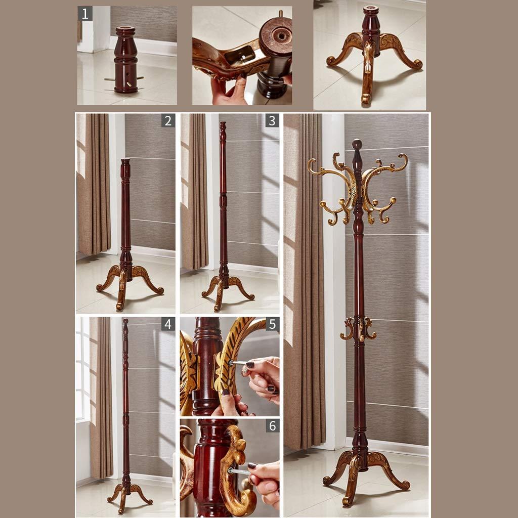 Amazon.com: Wenhui - Perchero de madera maciza con 4 ...