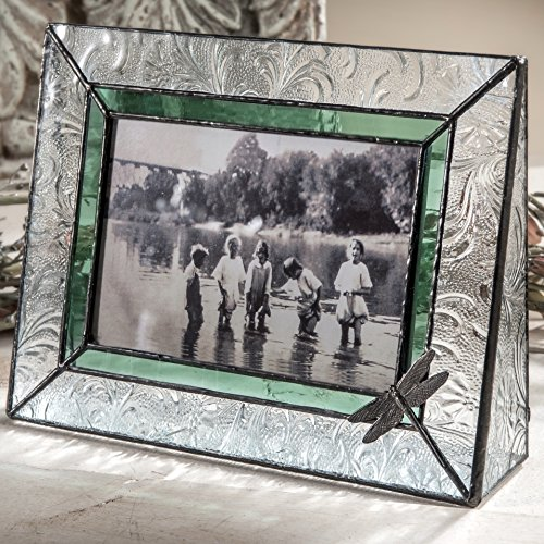 J Devlin Pic 107-46H Dragonfly Picture Frame Sage Green Stained Glass 4x6 Horizontal Photo Frame Decorative Keepsake Gift (Photo Sage Frame)