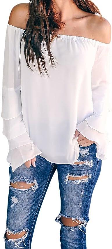 WARMWORD Camisa de Mujer Sexy Mujer Manga de Loto de Encaje Señoras Casual Fuera del Hombro Manga Larga Tops Color sólido Blusa Blusas para Damas Otoño Top de Tubo de Blusa: Amazon.es: