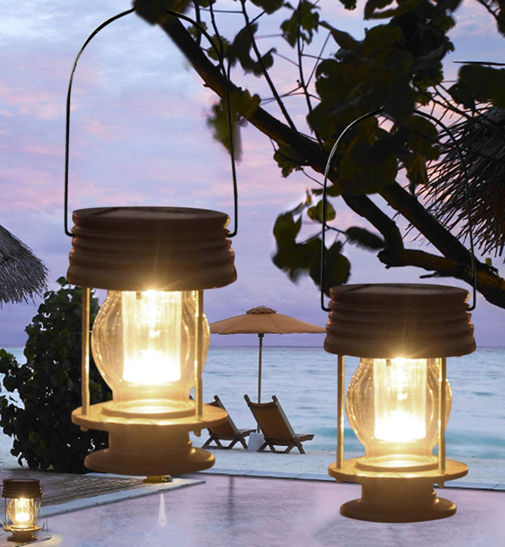 pearlstar Solar Lantern - Hanging Solar Lights Outdoor - 2 Pack Solar Powered Waterproof Led Lanterns Vintage Design for Landscape,Yard,Garden,Pathway,Beach,Pavilion Decoration (Warm Lights) by pearlstar