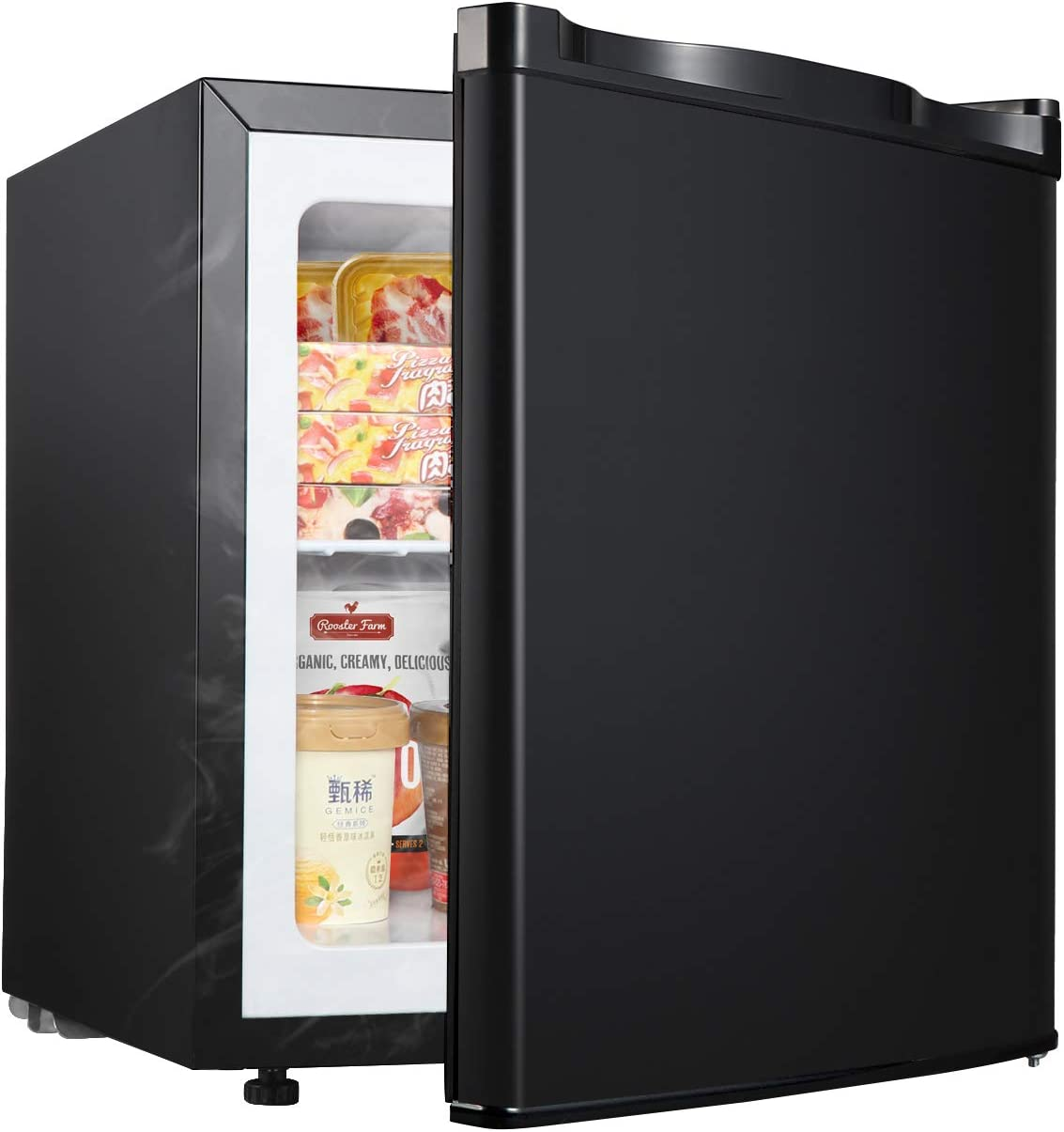 WANAI Upright Freezer 1.1 Cubic Feet Compact Single Door Vertical Freezer Table Top Mini Freezing Machine with Removable Shelves for Office Dorm or Apartment
