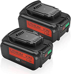 2PACK 6.0Ah DCB205 Battery Replacement for Dewalt 20V Battery Max XR Lithium ion DCB204 DCB206 DCB205-2 DCB200 DCB180DCD985B DCD771C2 DCS355D1 DCD790B
