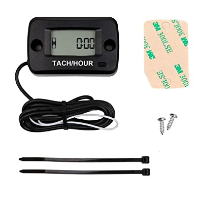 Searon Tach Hour meter Tachometer 2 & 4 Stroke Small Engine Spark For Boat Outboard Mercury Motocross Lawn Mower Black: Automotive