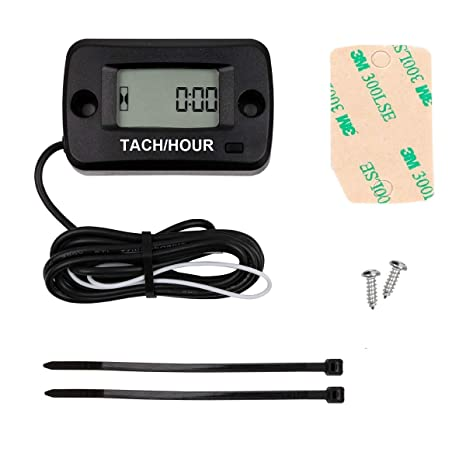 SEARON Tach Hour Meter Tachometer 2 & 4 Stroke Small Engine Spark for Boat  Outboard Mercury Motocross Lawn Mower Black